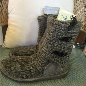 Bearpaw BOOT GREY Knit Tall Fold Over Size 6 Plush
